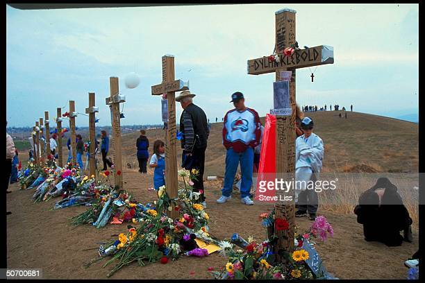 Cross in rememberance of Dylan Klebold who w friend Eric Harris went on shooting spree at Columbine High School killing 13 ending in their suicides...