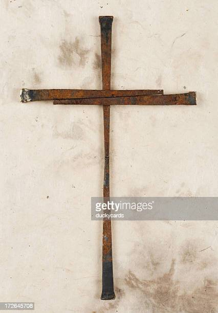 Cross Made of Rusty Old Nails