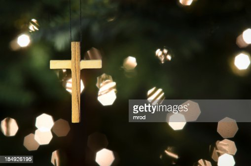 Cross Ornament on Christmas Tree