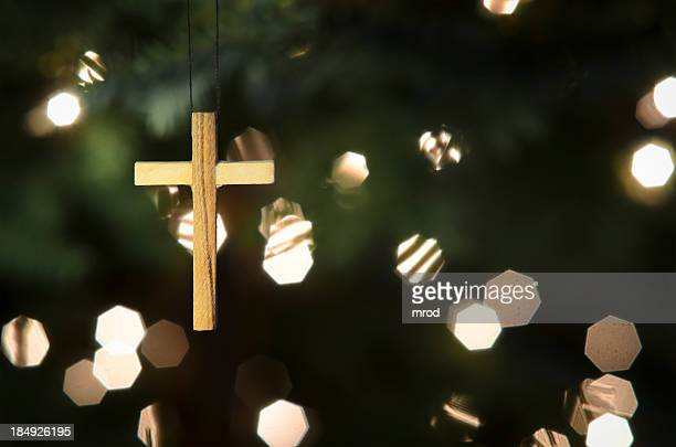 Cross Ornament on Christmas Tree