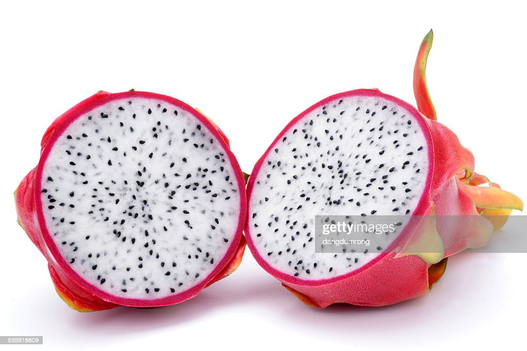 Cross Section Dragon Fruit isolated : Stock Photo
