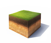 3d model of cross section of ground with grass isolated on white