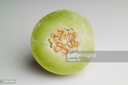 Cross section of honeydew melon