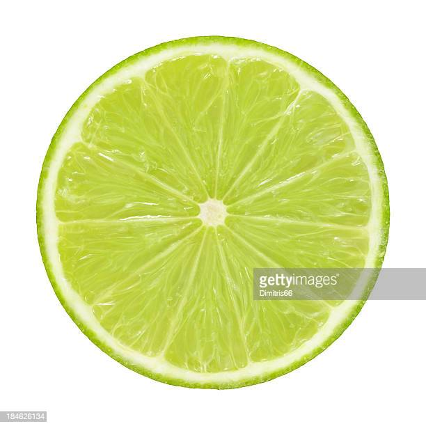 Cross section of lime on white background