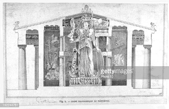 cross section of the parthenon athens 19th greece bibliotheque des arts decoratifs pictures. Black Bedroom Furniture Sets. Home Design Ideas