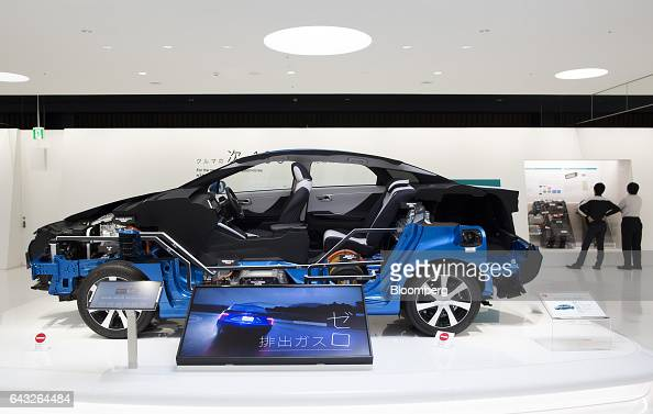 A cross section of the Toyota Motor Corp Mirai fuelcell vehicle is displayed in the showroom of the company's headquarters in Toyota City Aichi Japan...