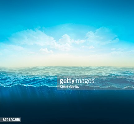cross section water, ocean slice, water column. 3d illustration : Stock Photo