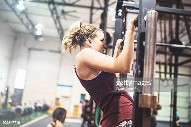 Cross Training Woman Doing Pull Ups