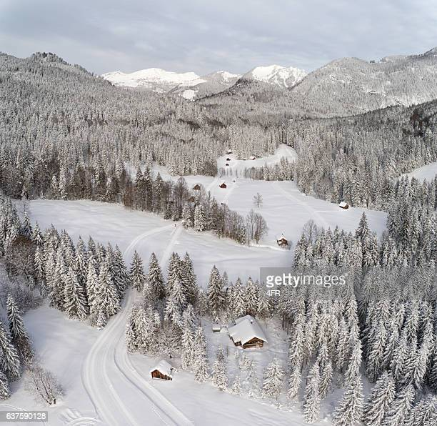 Cross-Country Ski Tracks to Blaa-Alm, Ausseerland, Styria, Austria, Austrian Alps