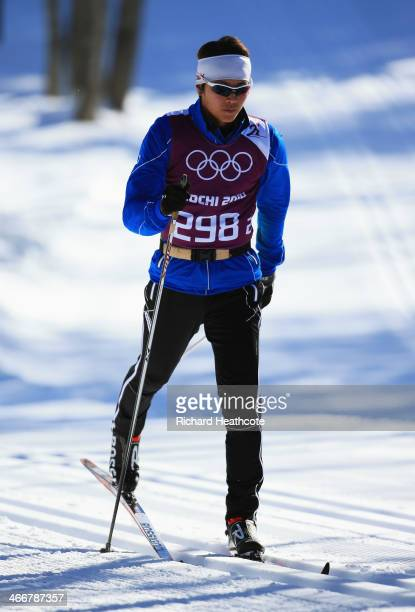 Crosscountry skier JunHo Hwang of South Korea practices ahead of the Sochi 2014 Winter Olympics at the Laura CrossCountry Ski and Biathlon Center on...