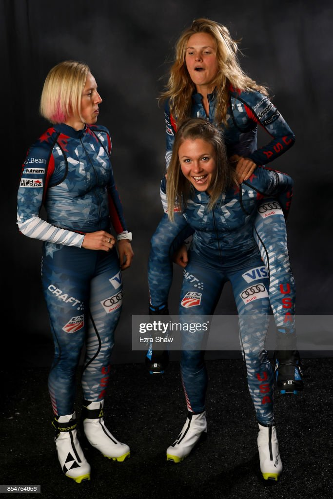 Cross-Country Skiers Kikkan Randall, Sadie Bjornsen and Jessie Diggins pose for a portrait during the Team USA Media Summit ahead of the PyeongChang 2018 Olympic Winter Games on September 27, 2017 in Park City, Utah.