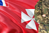 Crossed arms soldier with national waving flag on background - Wallis And Futuna Military theme.