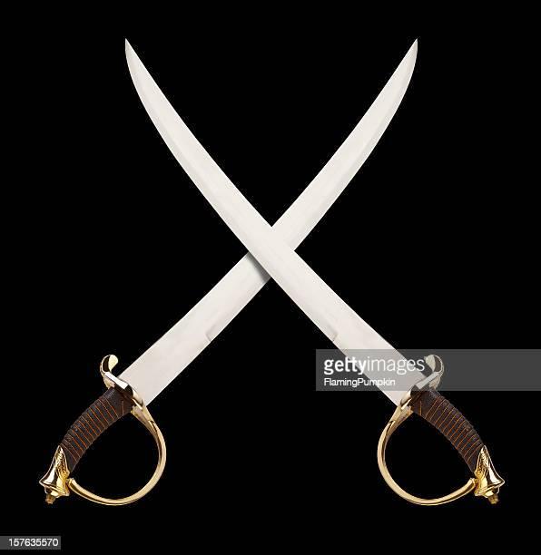 Épées croisées sur noir, des Pirates ou de cavalerie thème.