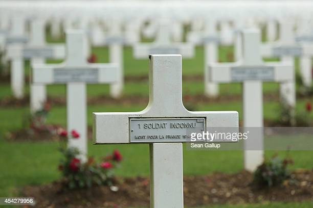 Crosses including one with an inscription that reads 'an unidentifed soldier died for France 19141918' stand at the cemetery where French soldiers...