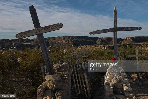 Crosses mark the graves in the cemetery of the ghost town of Terlingua Texas the cemetery dates from the early 1900's and was the final resting place...