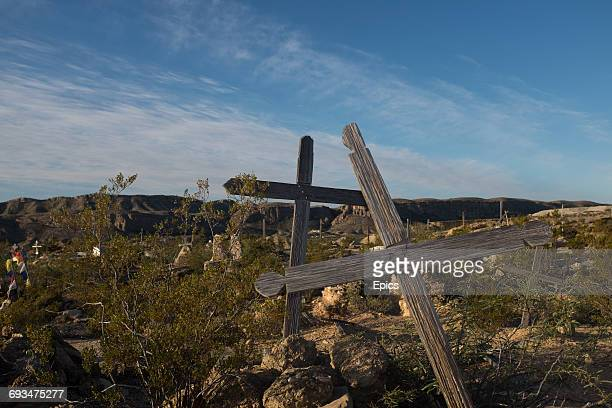 Crosses mark the graves in the cemetery of the ghost town Terlingua Texas the cemetery dates from the early 1900's and was the final resting place...
