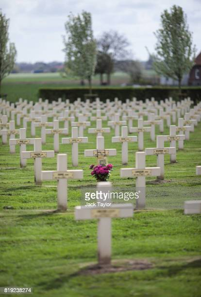 Crosses mark the graves of French soldiers in the St Charles de Poytze military cemetery on April 5 2017 in Ypres Belgium July 31st marks the...