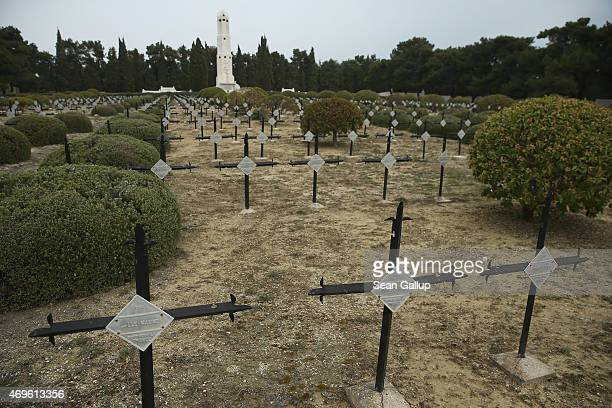 Crosses mark the graves of the 10000 French and French Colonial soldiers killed during the Gallipoli Campaign at the French National Cemetery at...