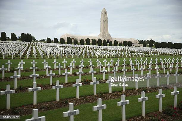 Crosses stand at the cemetery where 16000 French soldiers killed in the World War I Battle of Verdun are buried as the Douamont Ossuary which...