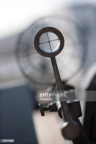Crosshairs on navy battleship gun