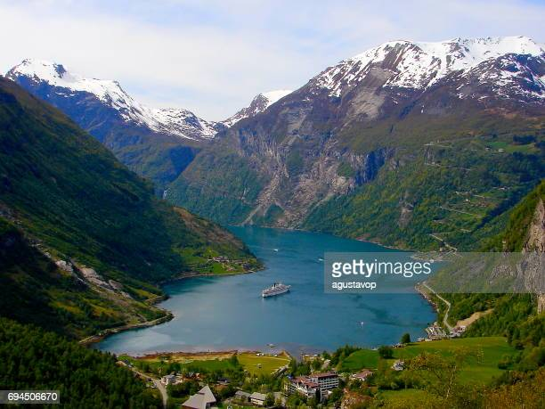 Crossing Norway impressive Geiranger Fjord by Ferry, Norwegian dramatic landscape, Scandinavia – Nordic Countries
