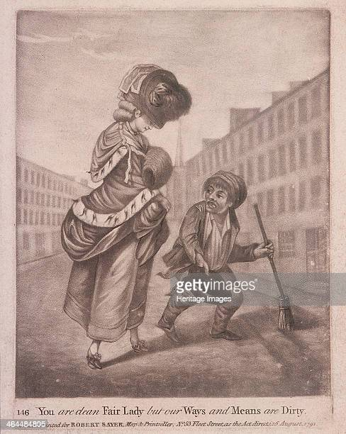 A crossingsweeper clearing the street for a fashionably dressed woman 1791
