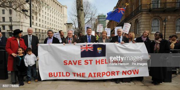 A crossparty group of MPs join demonstrators from the island of St Helena campaign in Westminster against the delay by the UK Government in granting...