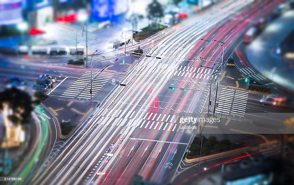 Crossroads Colorful Car Trails : Stock Photo