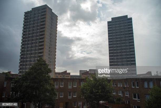 Crossways Estate in Bow is seen under the rain London on July 27 2017 The Crossways estate is a 1970s council estate in the Bow area of London When...