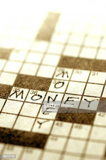 Crossword puzzle with money theme