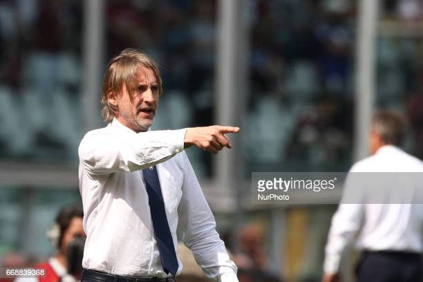 Crotone coach Davide Nicola during the Serie A match between FC Torino and FC Crotone at Stadio Olimpico di Torino on April 15 2017 in Turin Italy
