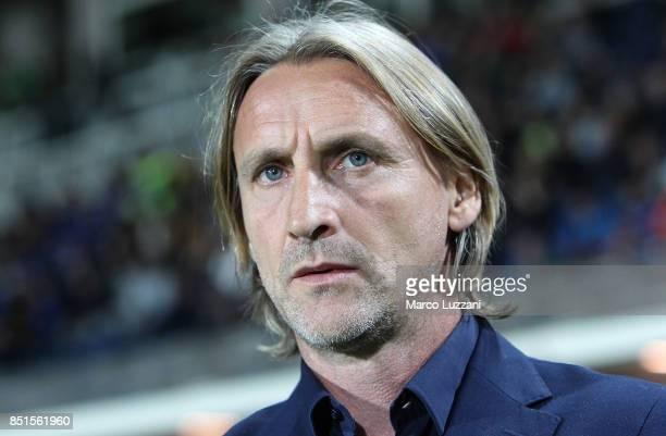 Crotone coach Davide Nicola looks on before the Serie A match between Atalanta BC and FC Crotone at Stadio Atleti Azzurri d'Italia on September 20...