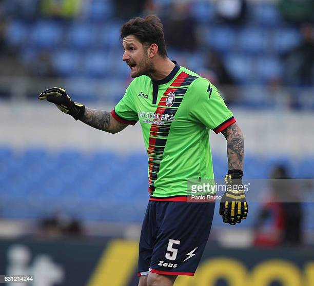 Crotone goalkeeper Marco Festa gestures during the Serie A match between SS Lazio and FC Crotone at Stadio Olimpico on January 8 2017 in Rome Italy