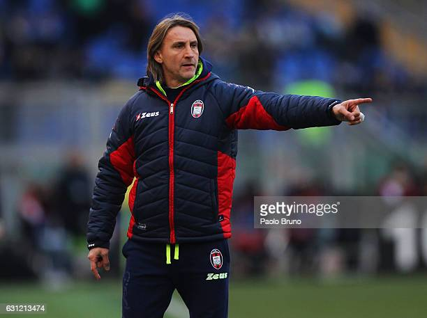 Crotone head coach Davide Nicola gestures during the Serie A match between SS Lazio and FC Crotone at Stadio Olimpico on January 8 2017 in Rome Italy