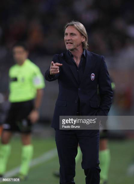 Crotone head coach Davide Nicola gestures during the Serie A match between AS Roma and FC Crotone at Stadio Olimpico on October 25 2017 in Rome Italy