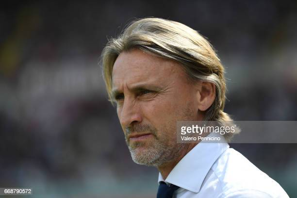 Crotone head coach Davide Nicola looks on during the Serie A match between FC Torino and FC Crotone at Stadio Olimpico di Torino on April 15 2017 in...