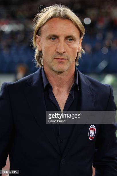 Crotone head coach Davide Nicola looks on during the Serie A match between AS Roma and FC Crotone at Stadio Olimpico on October 25 2017 in Rome Italy