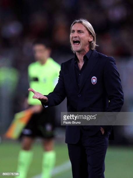 Crotone head coach Davide Nicola reacts during the Serie A match between AS Roma and FC Crotone at Stadio Olimpico on October 25 2017 in Rome Italy