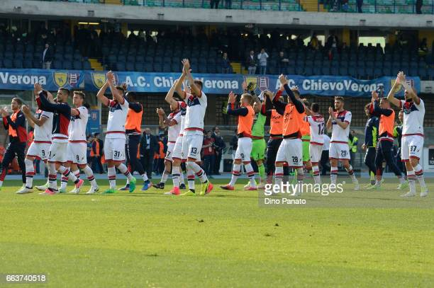 Crotone players applaud fans and celebrate victory after the Serie A match between AC ChievoVerona and FC Crotone at Stadio Marc'Antonio Bentegodi on...