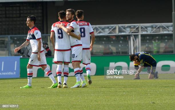 Crotone players celebrate victory after the Serie A match between AC ChievoVerona and FC Crotone at Stadio Marc'Antonio Bentegodi on April 2 2017 in...