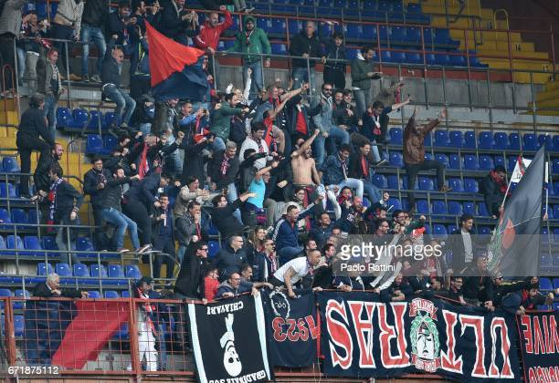 Crotone supporter celebrates after goal 12 during the Serie A match between UC Sampdoria and FC Crotone at Stadio Luigi Ferraris on April 23 2017 in...