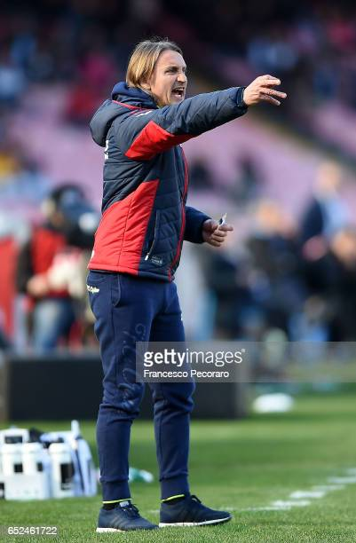 Crotones coach Davide Nicola gestures during the Serie A match between SSC Napoli and FC Crotone at Stadio San Paolo on March 12 2017 in Naples Italy