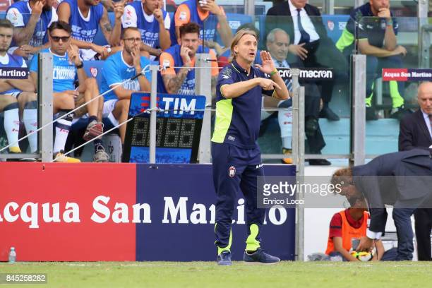 Crotone's coach Davide Nicola reacts during the Serie A match between Cagliari Calcio and FC Crotone at Stadio Sant'Elia on September 10 2017 in...