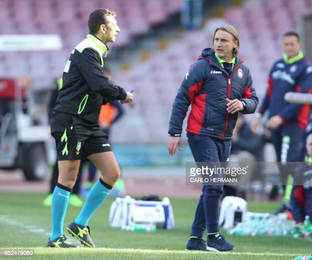 Crotone's coach from Italy Davide Nicola is expelled by referee Maurizio Mariani during the Italian Serie A football match SSC Napoli vs FC Crotone...