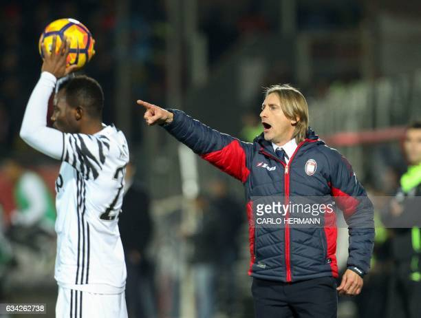 Crotone's Italian coach Davide Nicola gestures during the Italian Serie A football match between FC Crotone and Juventus FC on February 8 2017 at the...