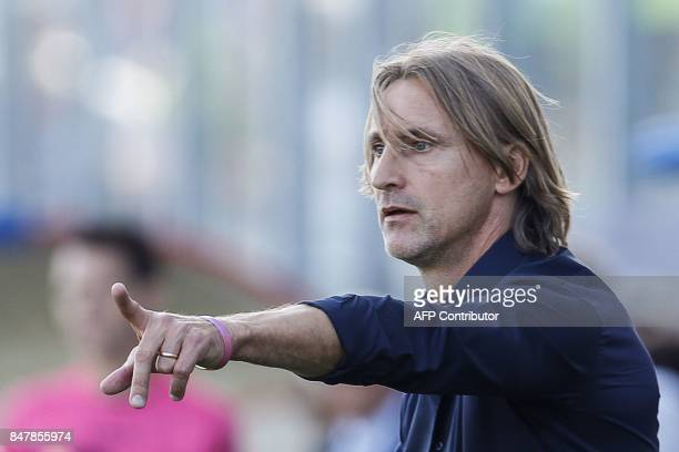 Crotone's Italian coach Davide Nicola gestures during the Italian Serie A football match FC Crotone vs FC Internazionale Milano on September 16 2017...