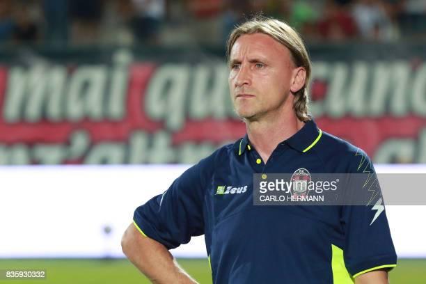 Crotone's Italian coach Davide Nicola looks on before the Italian Serie A football match FC Crotone vs AC Milan on August 20 2017 at the Ezio Scida...