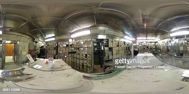 A crow bar is pictured among smashed safe deposit boxes in the underground vault of the Hatton Garden Safe Deposit Company which was raided in what...