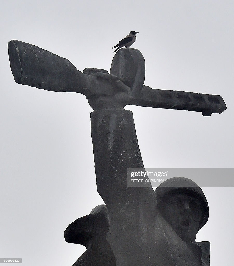 A crow sits on a monument at the WWII open air museum in Kiev on February 13, 2016. / AFP / SERGEI SUPINSKY