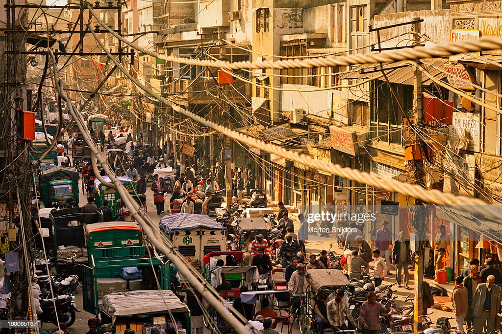 Crowd and Rickshaws at Chawri Bazar : Stock Photo